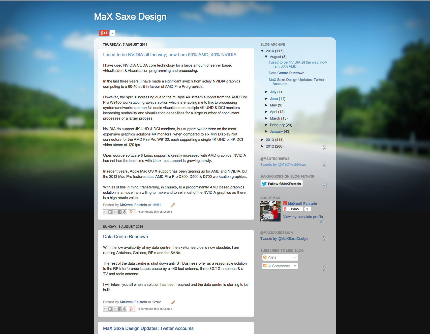 MaX Saxe Design Blogspot Screen Capture