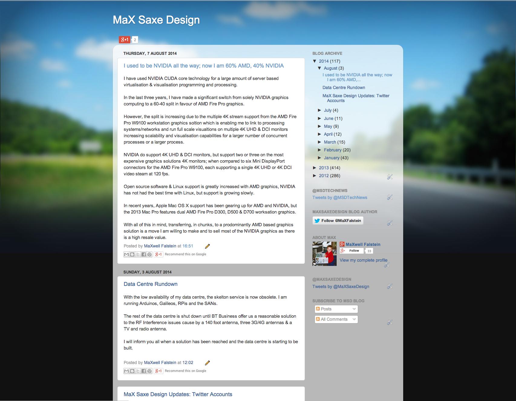 MaX Saxe Design Blogspot Screen Capture