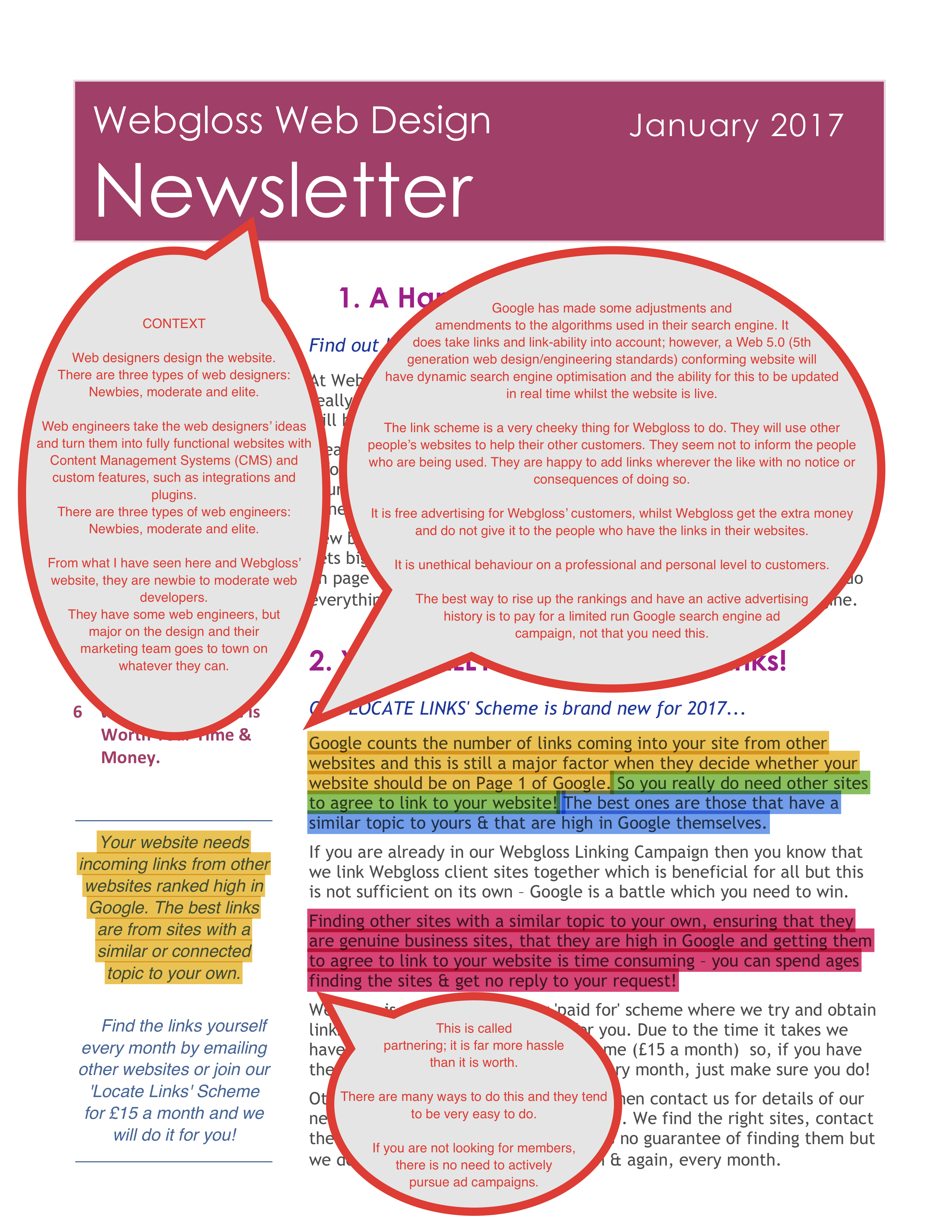 Webgloss 2017 Newsletter Response Page One