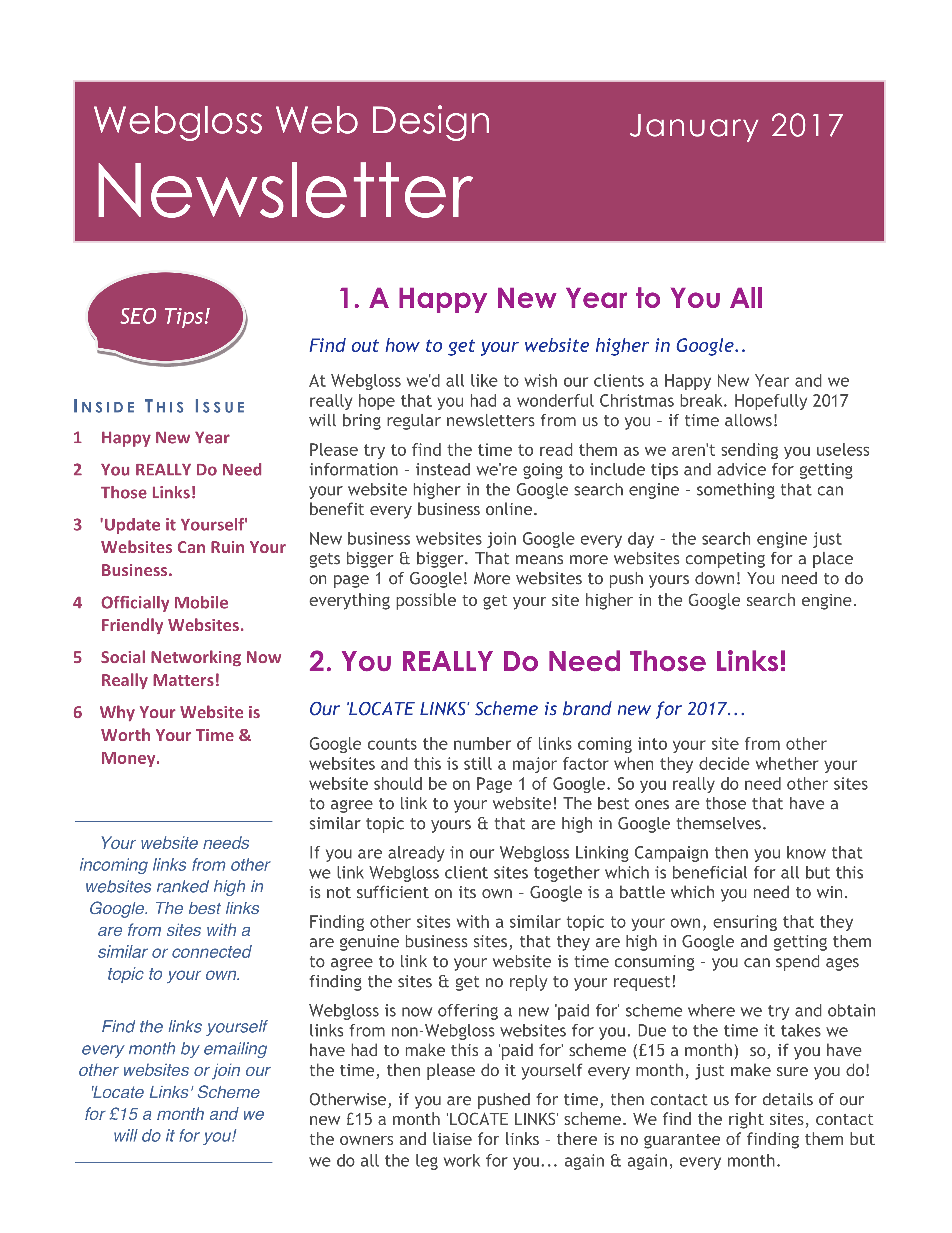 Webgloss 2017 Newsletter Page One
